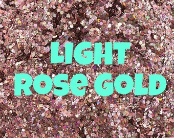 1oz Chunky Blend Glitter, Mixed Size Chunky Mix, Polyester Glitter Mixes, Sold By the Ounce, Champagne/Rose Gold, LIGHT Rose Gold Chunky Mix