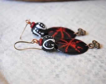 Ethnic Enamel Earrings, Black Earrings, African Glass Earrings, Artisan Enamel Earrings, Oval Earrings, Glass Bead Earrings, Boho Earrings