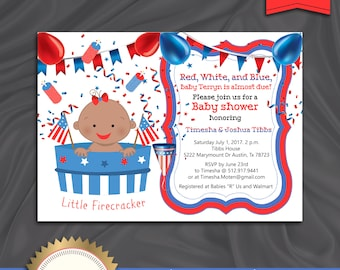 4th of July Baby Shower Invitation, Red White Blue, Baby Girl, Patriotic Baby Shower Invitation, Summer Baby  - Printable, Digital file