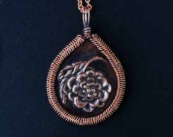 Plum Blossom Copper Repousse Fine Art Wire Wrapped Pendant Necklace OOAK Flower Woven