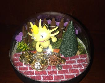 Meowth Pokemon Terrarium - Pokemon Fan Made Pokeballs