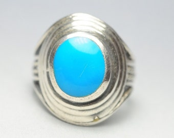 T06C06 Victorian Style Vintage Oval Turquoise Stone 925 Sterling Silver Ring Sz 9.5