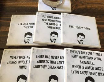 Parks and Recreation Coasters | Ron Swanson - Set of 7 - Special Set - Best Quotes - Popular TV Shows - Drink Coasters - Living Room Decor