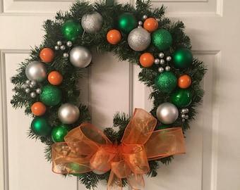 Miami Hurricanes Christmas Wreath