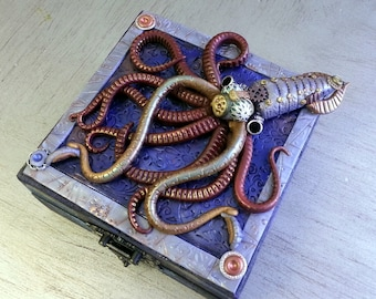 Steampunk Squid Octopus Treasure Prayer Keepsake Jewelry Box