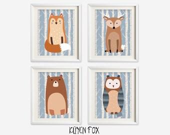 Woodland wall art -woodland nursery art - kids wall art - Nursery Decor - forest wall prints -forest nursery art - fox nursery art