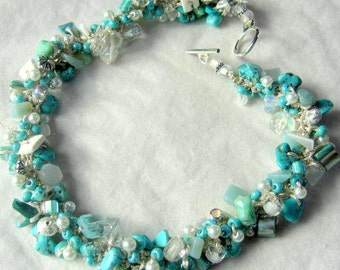 Beachy Bride Wedding Necklace, Chunky Turquoise Stone, Pearl, Pukka Shell, Semi Precious Abalone, Silver, Hand Knit, Unique Original