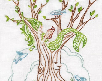 DIY Mermaid Tree Embroidery Pattern PDF download hand embroidery patterns designs