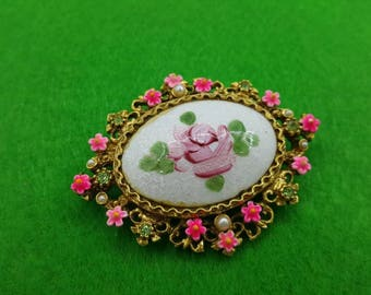 Art Signed Hot Pink  Guilloche Flower  Brooch Victorian Delicate