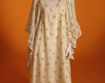 Vintage 1970's Angel Sleeve Floaty Floral Pale Lemon Maxi /Festival Dress by 'C & A' UK Size 8 US Size 4