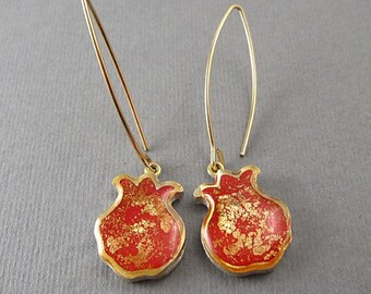 Red pomegranate earrings, sterling silver earrings, decorated with gold foil, hook earrings,For good luck.