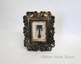 Mini Framed Rustic Letter T on Vintage Dictionary Page