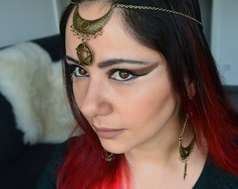 Moon circlet Celtic circlet Pagan wedding Bruja Elven headpiece Viking wedding Witch jewellery Gift for druid Triple goddess Wiccan jewelry