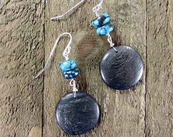 Turquoise & Tektite Earrings, Meteorite Dangle, Black Earring