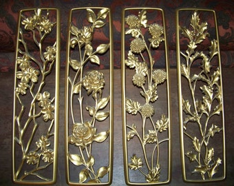 Mid Century Dart IND Hollywood Regency Four Seasons Gold Wall Plaques 1954 apple blossom, rose, mum, holly Retro Awesome Wall Hangings Decor