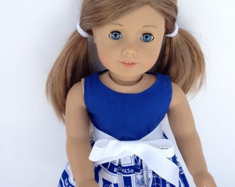 18inch Doll Dress made of Duke University fabric, made to fit 18 inch dolls such as American Girl and similar 18 inch dolls