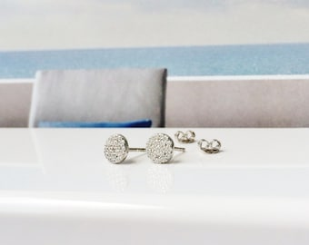 Round Dot Earrings in Solid 925 Sterling Silver And Cubic Zirconia • Post Back And Safe to Get Wet • Diameter 6 mm • Priced Per Pair