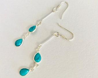Baby Turquoise gemstone Silver Drop Earrings