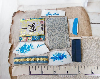 Salvaged Tin Cuts - 1 Ounce - 8 Pieces - Blue Mix Floral - Smoothed Edges - Blue, White, Cream, Gold - Raw Tin for Jewelry, Crafts - no. 4