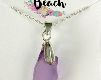 Amethyst Purple Desert Antique Glass Pendant Necklace Silver 18 Inch Chain by Mountain Beach