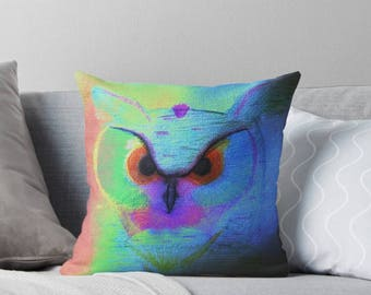 Colorful Hootie Owl Square Pillow