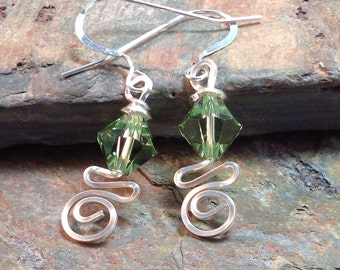 Wire Wrapped August Swarovski Birthstone Earrings