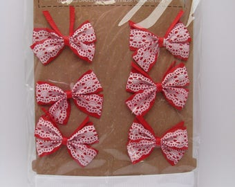 Bow and satin ribbons - red - lace - white