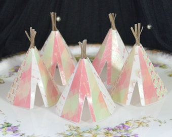 Edible Teepee's 3D 5 Boho Coral Spring Lime Tipi Wafer Paper Bohemian Wedding Cake Decoration Wild Rustic Birthday Cupcake Topper Cookie