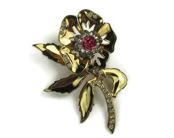 1940s Rhinestone Flower Brooch