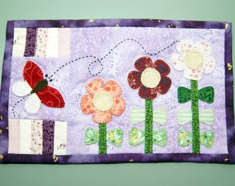"""Spring Flowers Butterfly Mug Rug (9"""" x 5.5"""") ~ Hand Appliqued ~ Machine Quilted ~ Mini Quilt ~ Coaster ~ Place Mat ~ Candle Mat ~ Table Mat"""