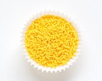 Yellow Jimmies (2 oz - Small Bag) Yellow Sprinkles, Yellow Cake Sprinkles, Bright Yellow Cookie Sprinkles