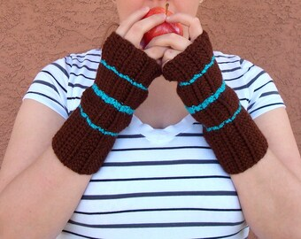 Turquoise Blue and Chocolate Brown Striped Fingerless Gloves for Men or Women - Crochet Stripe Fingerless Gloves, Arm Warmers, Wrist Warmers