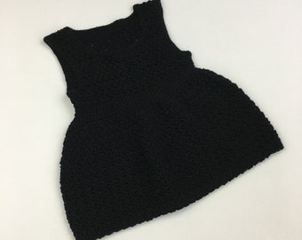 18-24 Month Hannah Tunic in Black Organic Cotton Ready to Ship