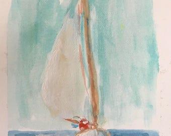 Santa at Sea- Original Watercolor Sketch -  5 x 7 - Santa Sailing!