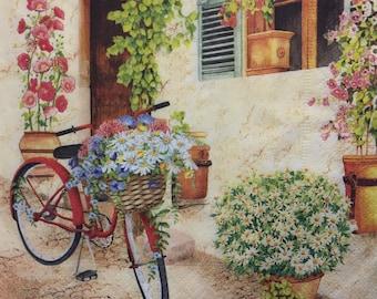 "3 Decoupage Napkins, Summer Patio Bicycle Flower Basket, 13"" x 13"""