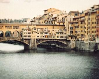 Florence Italy Ponte Vecchio Bridge Photograph, Arno River in Italy, Wall Art, Italian, Vintage Tuscany, Europe - Medieval Ponte Vecchio