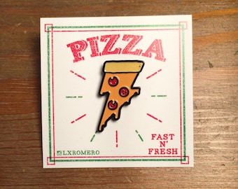 Lightning Pizza Enamel Pin