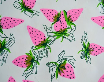 Vintage Wrapping Paper - Pink Strawberries - Folded Sheet or Rolled