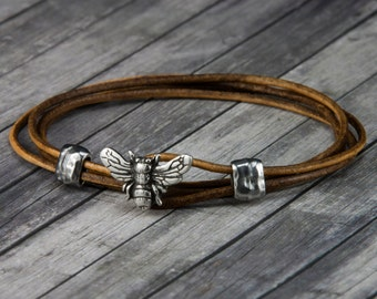 Bee Leather Bracelet - Leather Wrap Bracelet - Womens Leather Bracelet - Mens Leather Bracelet - Bee Jewelry - Leather Bracelet - Honey Bee