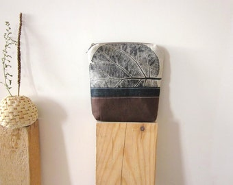 Linen and denim pouch, fabric wallet, handprinted pouch, makeup organizer, Cosmetic Bag, linen pouch