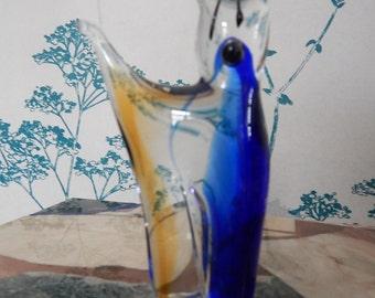 Cat Figurine  - Murano Glass - Venetian Art Glass -  Vintage - Blue-White-Amber