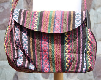 Pink Nepali Boho Crossbody bag  Womens Messenger Bag  Cute Hippie bag  Fabric Shoulder bag  Everyday bag  Ethnic Vegan bag   Woven Hobo bag
