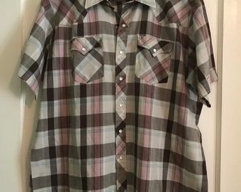 Vintage Pearl Snap Western Plaid Button Down Shirt / short sleeve / authentic youngbloods / oxford / blue / gray / XL / country / cowboy