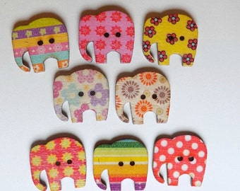 4 Wooden Elephant Buttons - Wooden Painted Button - #SB-00038