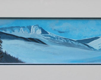 "Mt. Ida Wrapped in Winter Cloud                                       Original Painting (17.5 "" x 5 "") Framed"