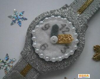 Twinkle silver Felt watch Play watch Baby watch Felt baby toy Toy watch Silver Glitter silver Christmas felt Baby gift Felt baby gift Felt