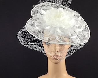 White Lace Fascinator with Veiling and Rose ,White Wedding  Fascinator, Black Funeral Fascinator
