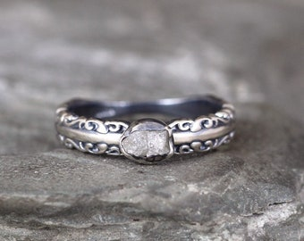 Raw Diamond Engagement Ring - Antique Design Band - Uncut Rough Diamond Rings - Sterling Silver Wedding Rings - Victorian Inspired