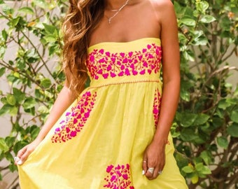 """Embroidered Peasant Dress Hand Embroidered Sundress: """"La Mallorca"""" Yellow with Magenta Embroidery"""