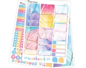 Watercolor Crystals mini kit Planner Stickers for Erin Condren Life Planner // #MK-99